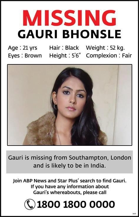 gauri bhosale bhonsale missing find NRI india star plus.jpg